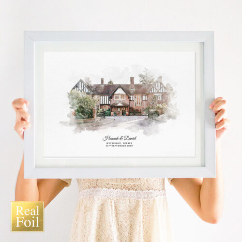 Personalised Wedding Venue Portrait Print with Foil