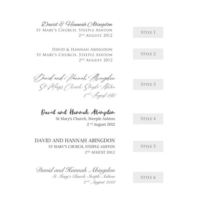personalised wedding venue print with foil options