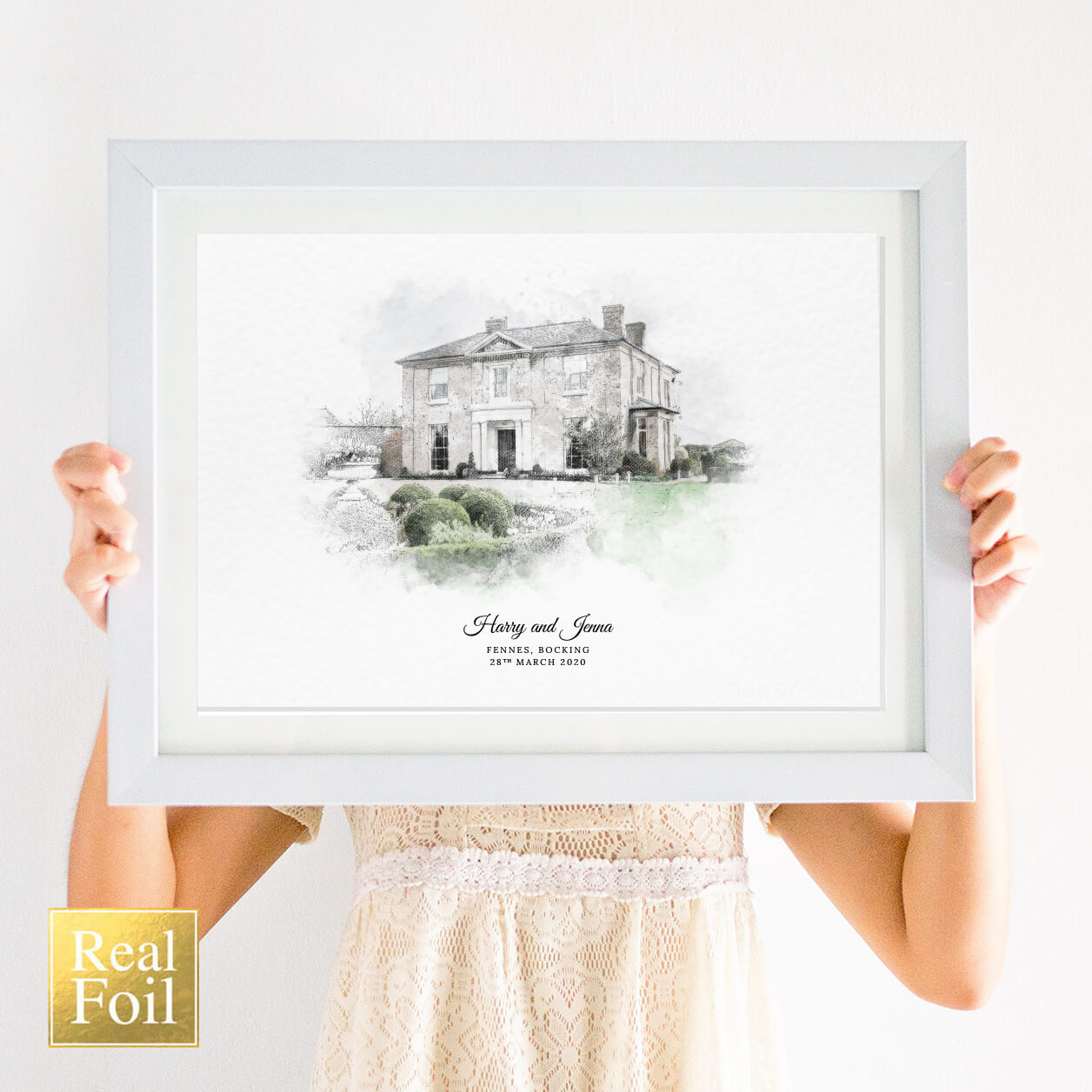 Personalised Wedding Venue Portrait Print with Foil
