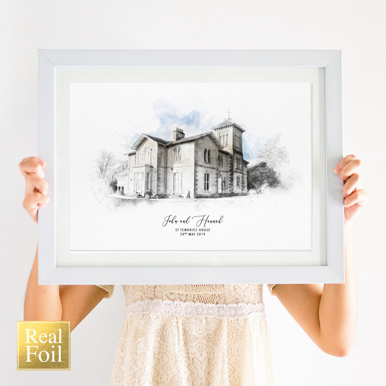 foil wedding venue illustration print