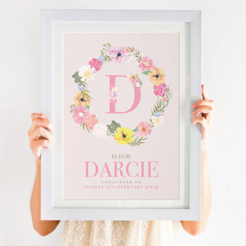 Personalised Floral Initial Girls Christening Print