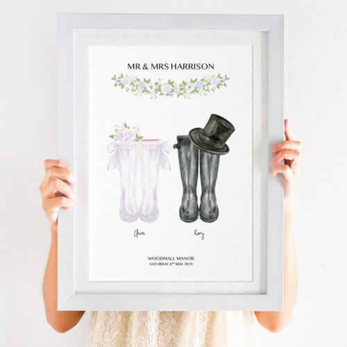 Personalised Welly Boot Wedding Print