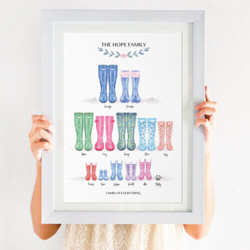 Personalised Family Tree Welly Boot Print