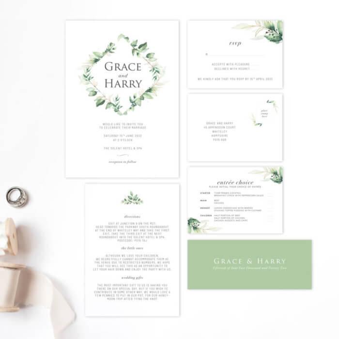 Green Foliage Main Package Wedding Invitations
