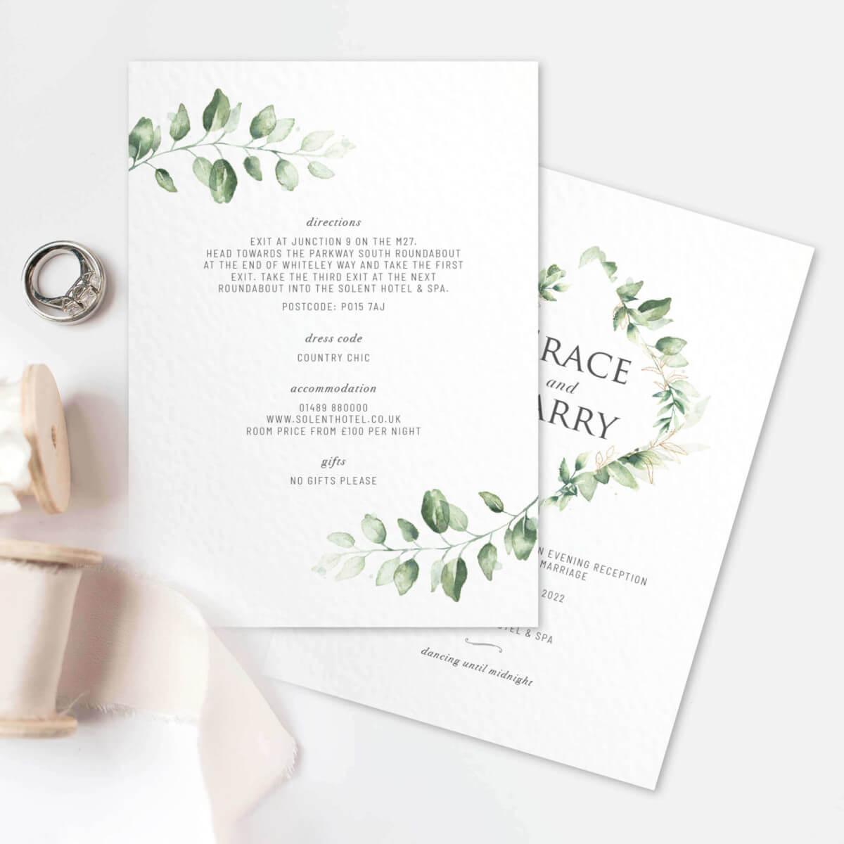 Green Foliage Invitation text on reverse
