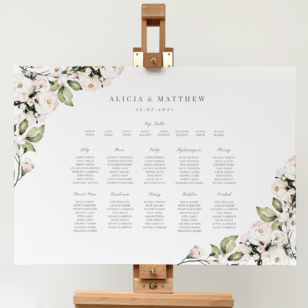 Foliage and Blush Table Plan