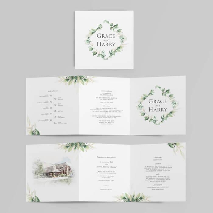 green foliage 6 page concertina wedding invitation