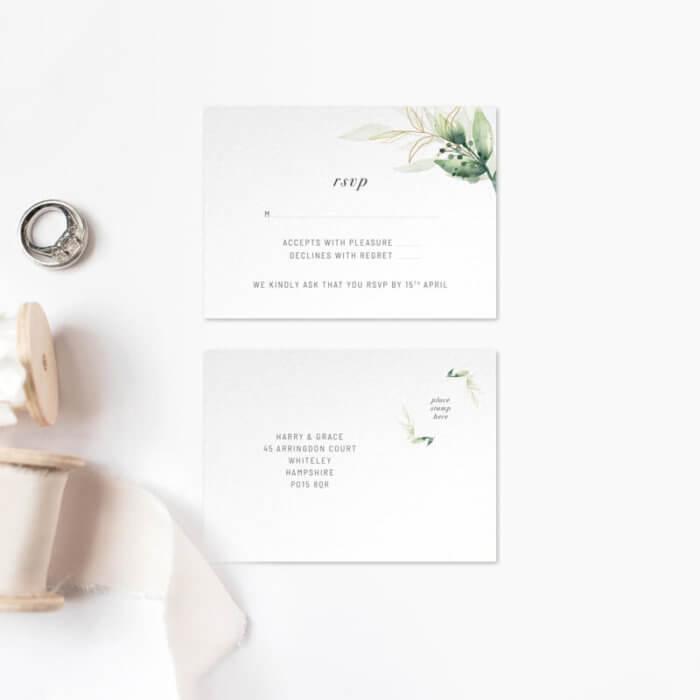 green foliage wedding invitations 3