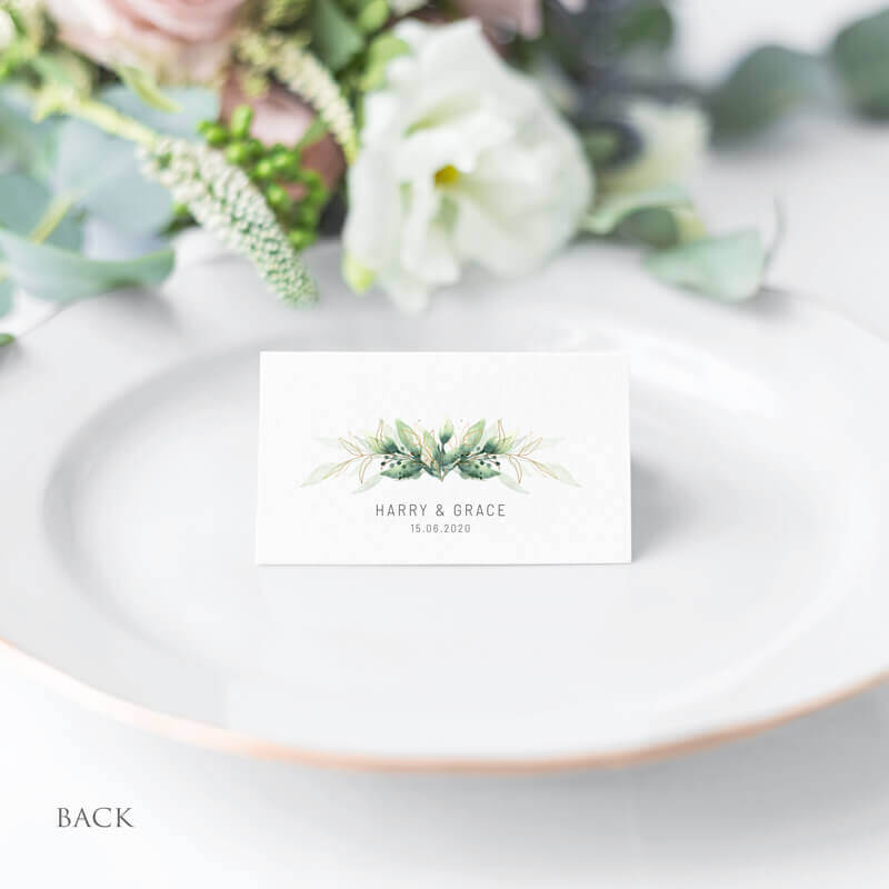 Green Foliage Wedding Table Place Name Cards back