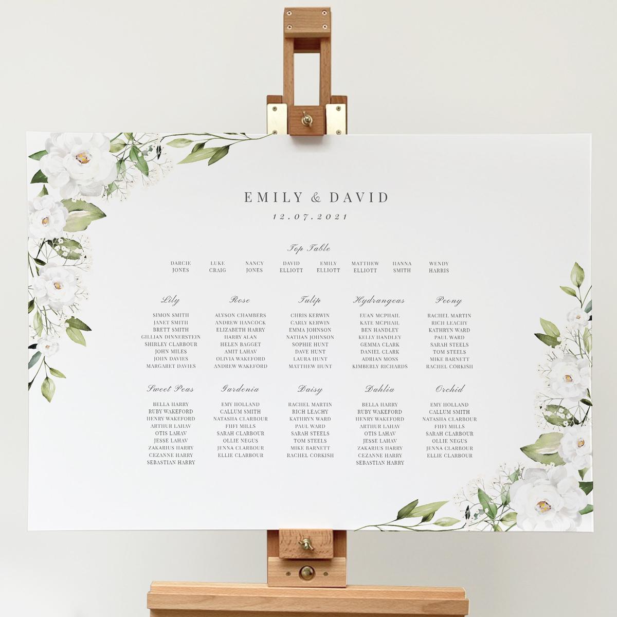 White Peony and Gypsophila Table Plan