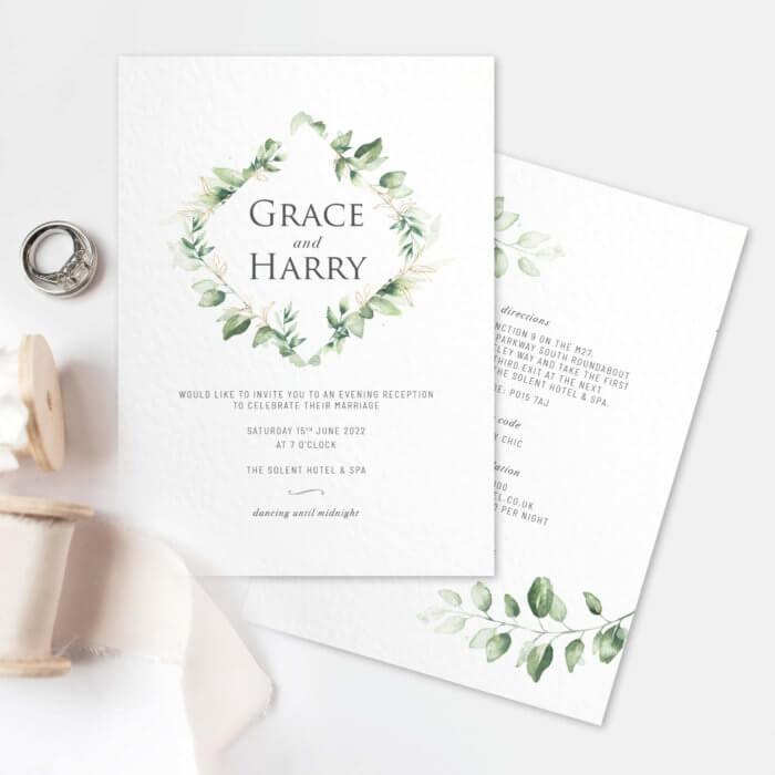 green foliage evening wedding invitations