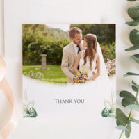 green foliage thank you cards