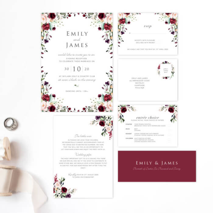 burgundy and blush main package wedding invitations