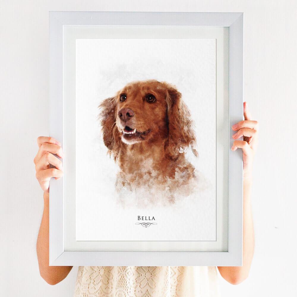 Personalised watercolour pet portrait print
