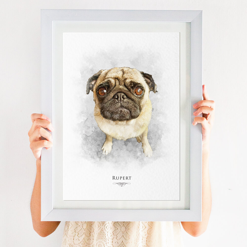 Personalised watercolour dog print