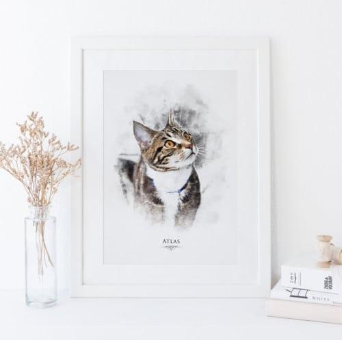 personalised watercolour cat portrait