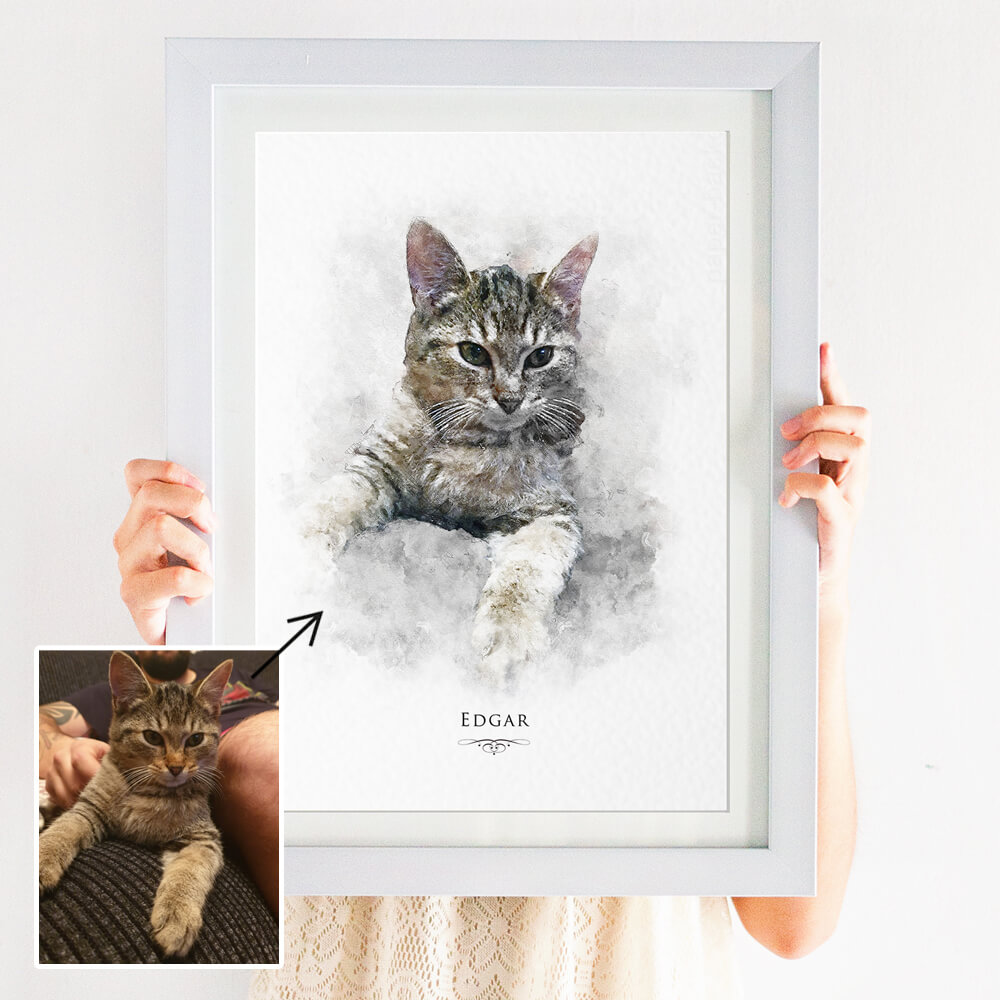 watercolour pet portrait print