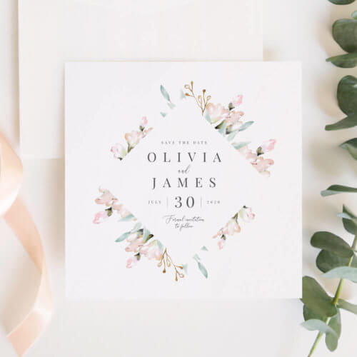 Blush and Sage Floral Save The Date Invitations