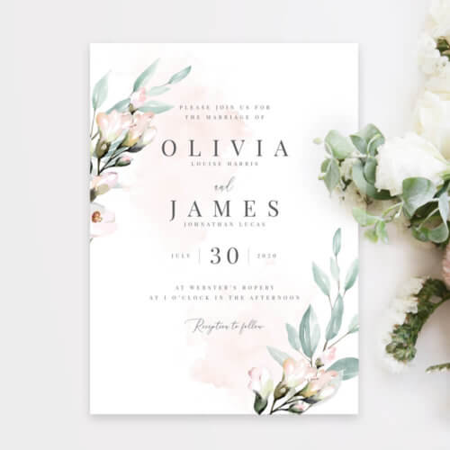 Blush and Sage Wedding Invitations