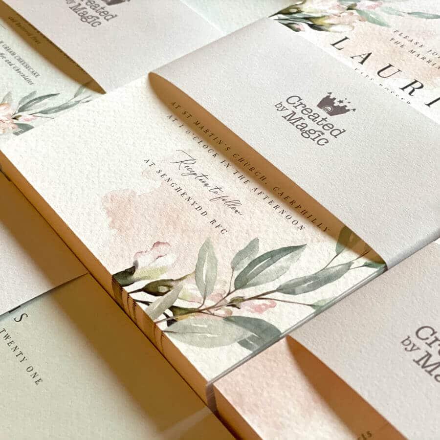 Blush and sage wedding invitation design uk whiteley