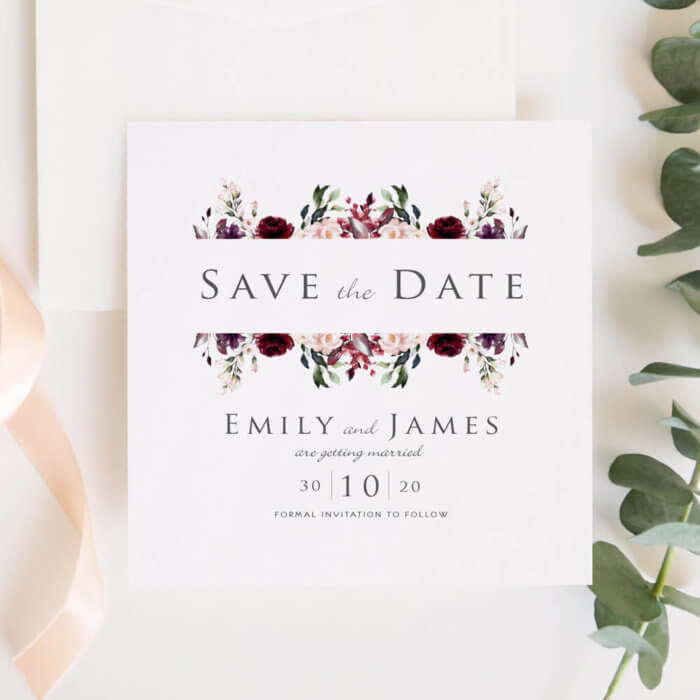 Burgundy and Blush Save The Date Invitations