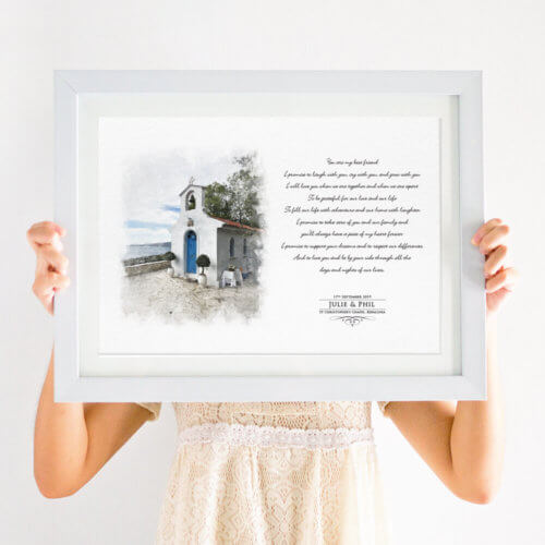 Illustrated Venue and Vows Anniversary Print
