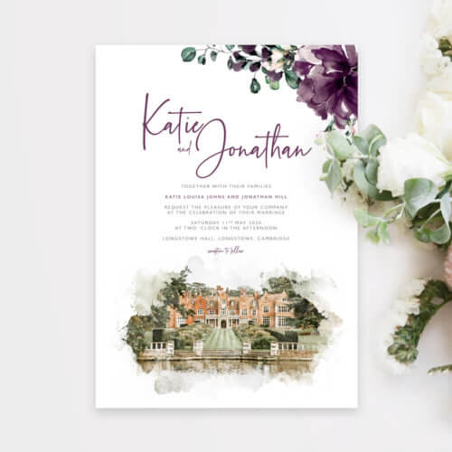 Illustrated Venue Purple Floral Wedding Invitations