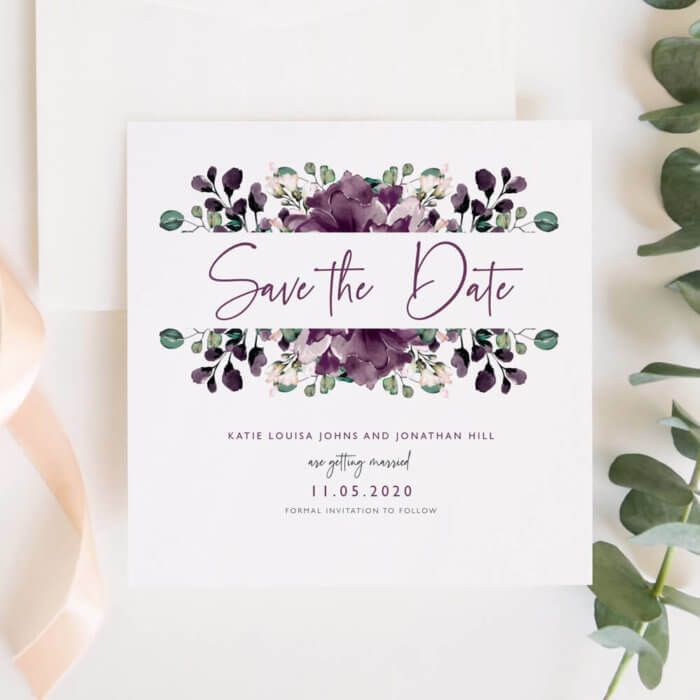 Purple Floral Save The Date Invitations