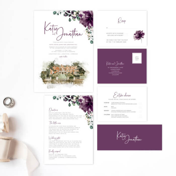 Illustrated Venue Purple Floral Wedding Invitation bundle