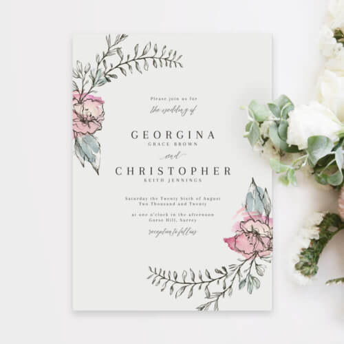 Whimsical Pink Floral Wedding Invitations