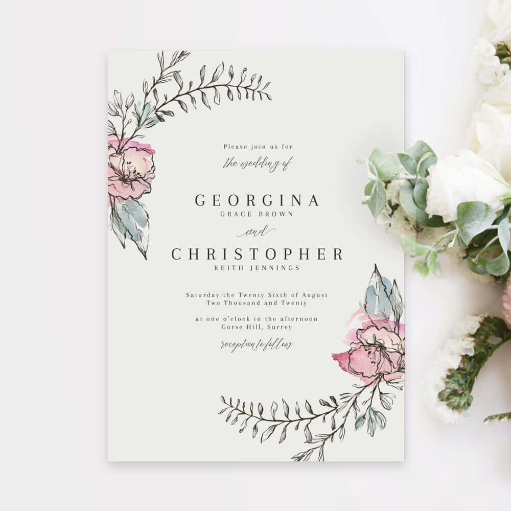 Whimsical Pink Floral Wedding Invitations Created By Magic