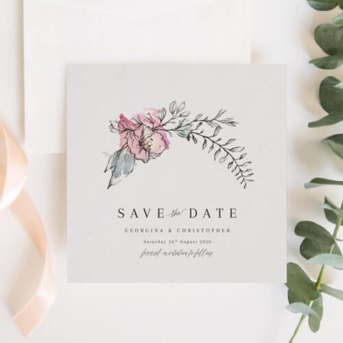 Whimsical Pink Floral Save The Dates