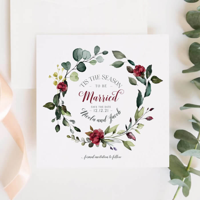 Rustic Red and Green Christmas Save the Dates