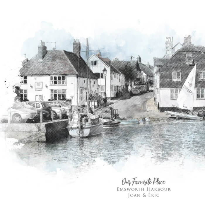 Personalised Our Favourite Place Watercolour Illustration Print close up