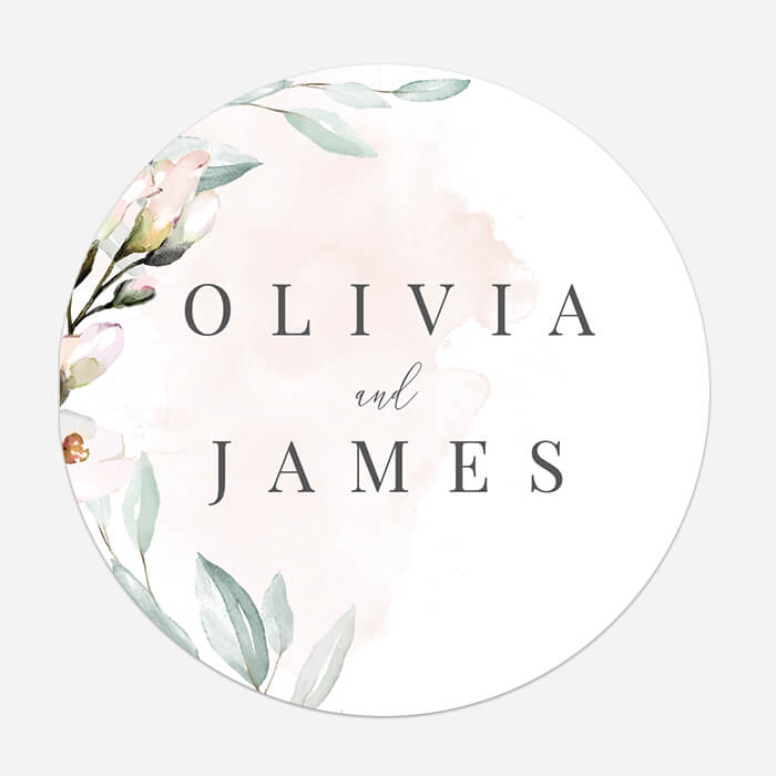 Personalised Classic Round Wedding Stickers