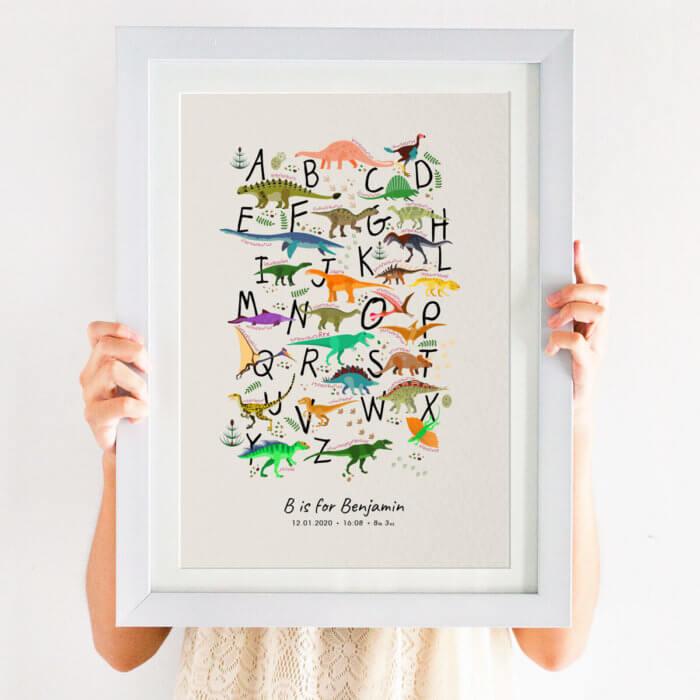 Personalised Dinosaur Alphabet Nursery Print