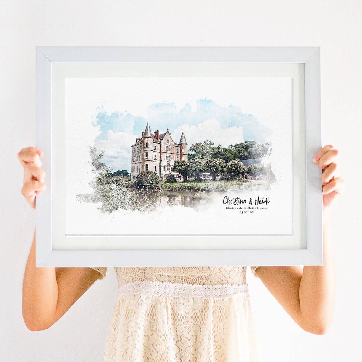 Watercolour Wedding venue Illustration