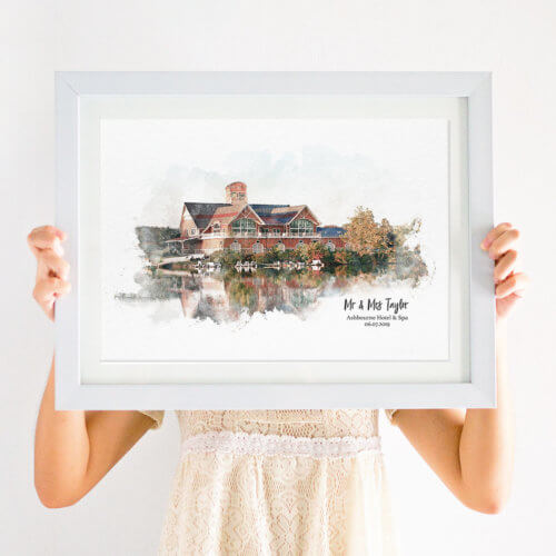 watercolour wedding venue illustration print