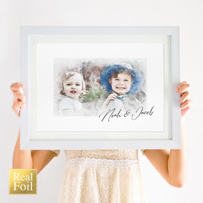 Foil Custom Sibling Portrait Illustration