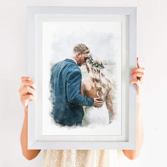 watercolour couple portrait