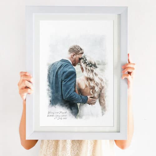 couples portrait watercolour print
