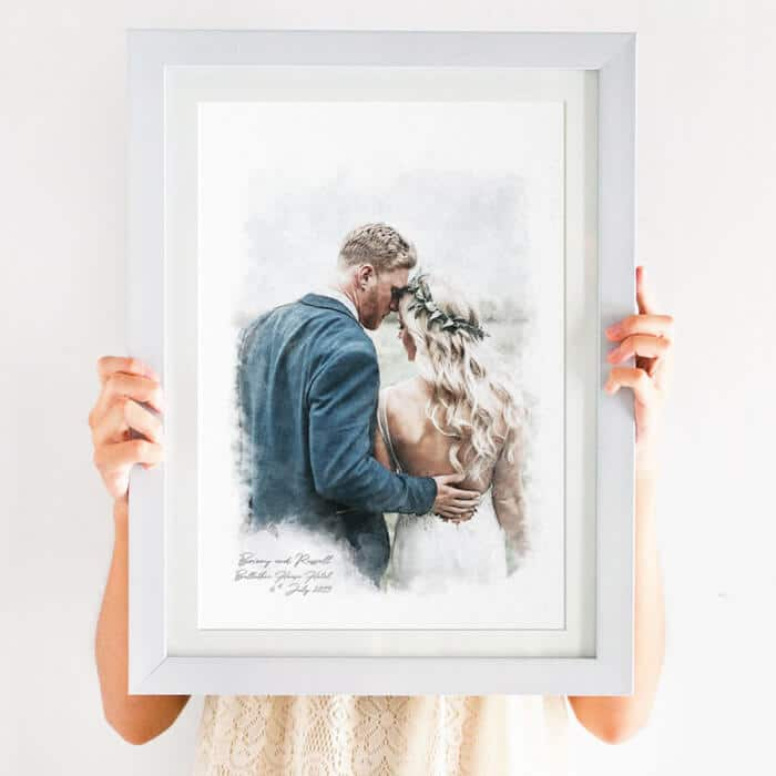 couples portrait watercolour print