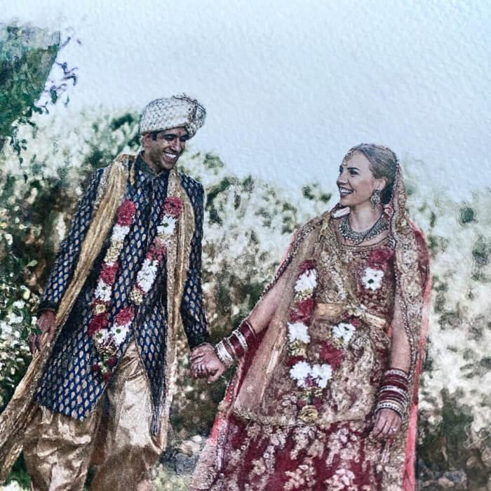 indian couples wedding portrait print