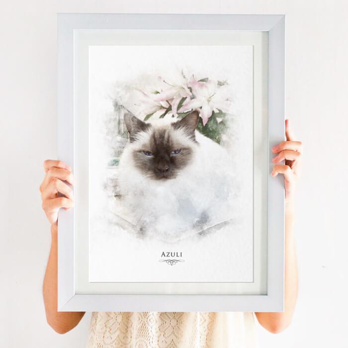 watercolour cat portrait print