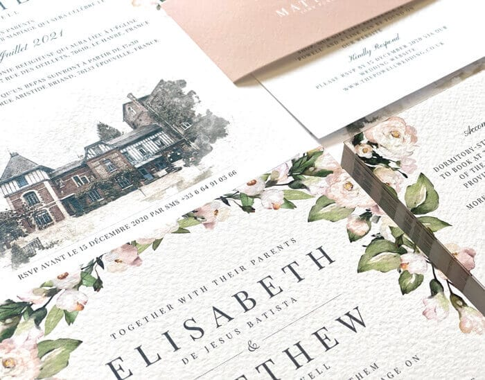 blush and sage wedding stationery design