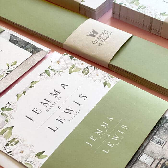floral green wedding stationery uk