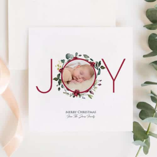 Personalised Joy Photo Christmas Card Set