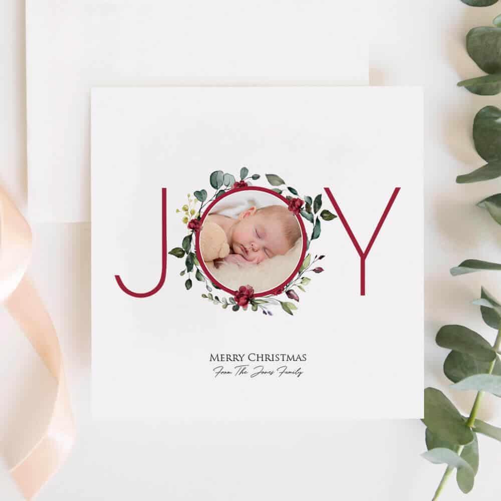 Personalised Joy Photo Christmas Card Set