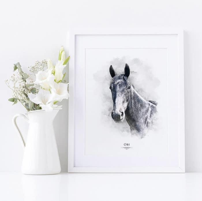 custom watercolour horse print