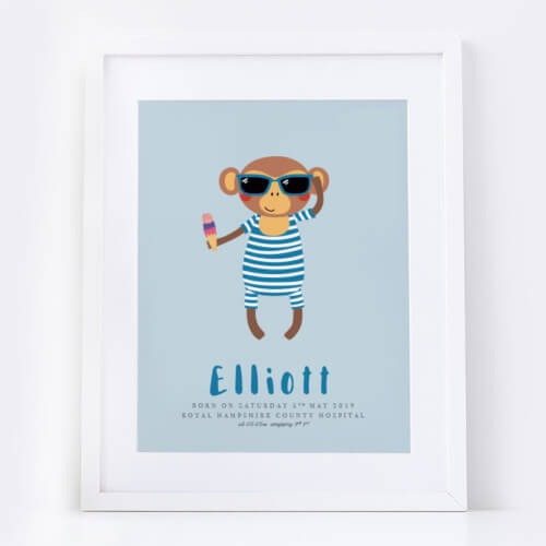 New Baby Boy Monkey Name Print